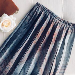 Vintage Wool Blend Pleated Skirt